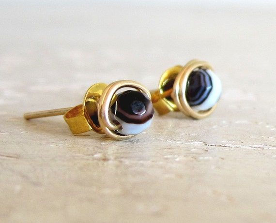 Agate Stud Earrings // Gold Filled Wire Wrapped Variegated Stone Posts