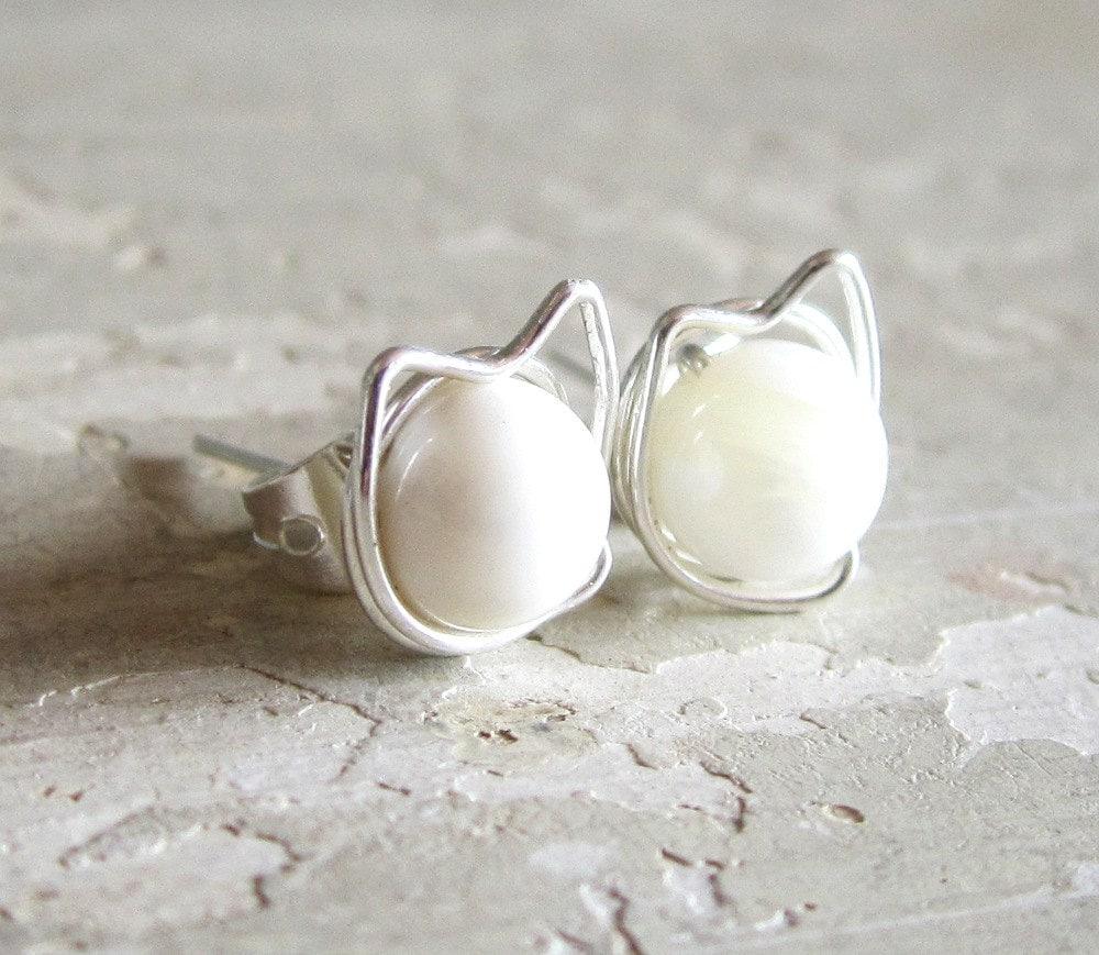 cat stud earrings sterling post earrings by