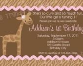 Giraffe Birthday Invitation Giraffe Birthday Party Invitation Printable Digital Boy or Girl