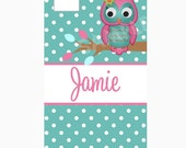 Personalized IPhone Case Cover Personalized  IPhone 4 and 4S Polka Dot Owl ORIGINAL DESIGN