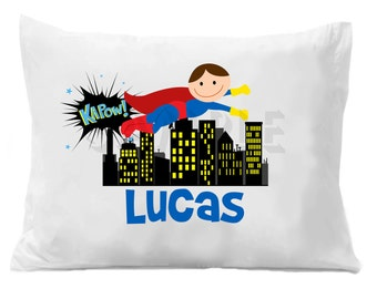 Superhero Pillow Case Superhero Personalized Pillow Case