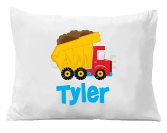 Dump Truck  Pillow Case , Personalized Dump Truck Pillowcase