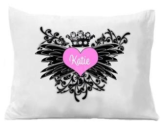 Personalized Pillowcase Princess Heart Crown Pillow Case