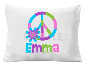 Peace Sign Personalized Pillow Case Personalized Pillow Case