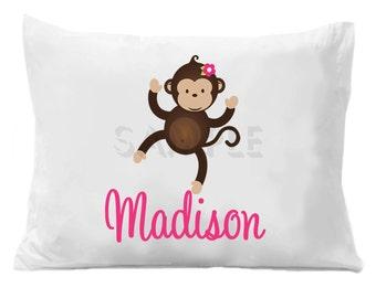 Monkey Pillow Case ,  Personalized Pillowcase Girls or Boys