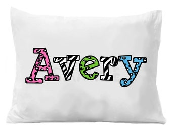 Cheetah Zebra Personalized Name Pillowcase Cheetah Zebra Personalized Pillow Case