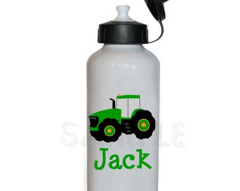 Personalized Water Bottle Green Tractor Personalized Water Bottle