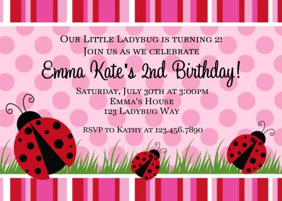 Little Ladybug Birthday Invitation Ladybug Birthday Party Invitation Shower Invitation Printable