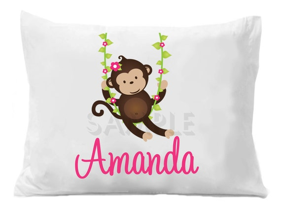 Monkey Pillow Case Personalized Pillow Case Girls or Boys