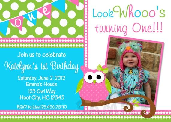 Owl Birthday Invitation Owl Birthday Party Invitation Girls - 1st birthday invitations girl owl