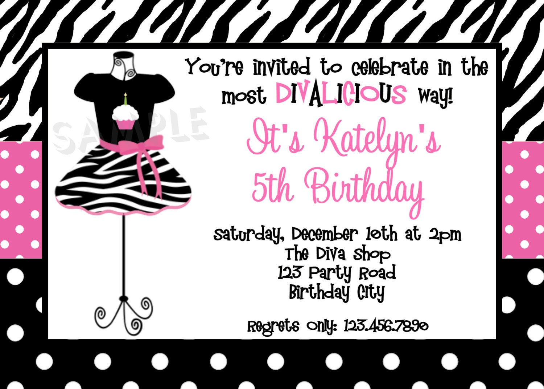 Glamour Girl Birthday Invitation Girls Dress Up Party – Dress Up Party Invitations