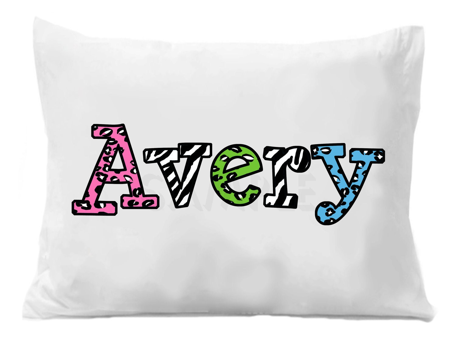 Cheetah Zebra Personalized Name Pillowcase Cheetah Zebra