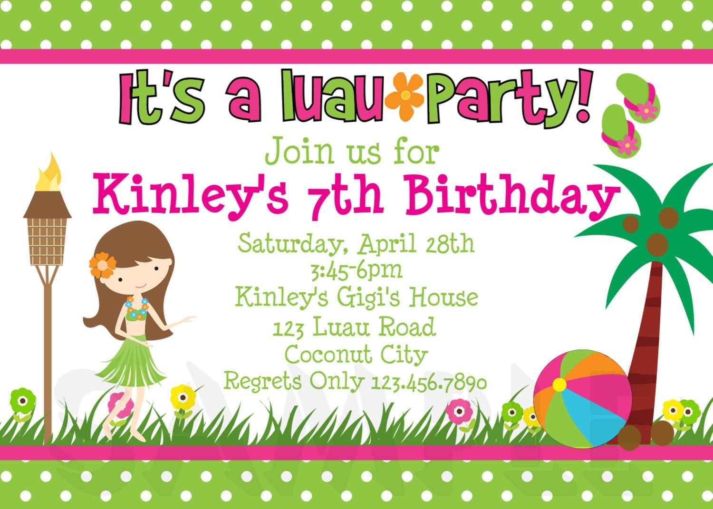 Luau Birthday Invitation Luau Birthday Party Invitation – Hula Party Invitations