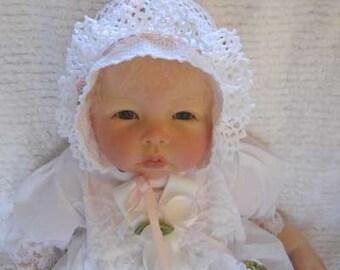 Crochet Rosebud Baby Bonnet