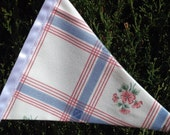 Bunting Garland Red White Blue one side roses and checks on the other