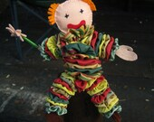 Soft toy clown Bobo the clown soft safe fun hand made no power used.