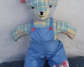 Teddy bear with red white blue heart Edward bear collection. 15inch 38cm high