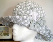 Hats plaited pale green white OOAK