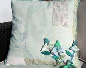 Cushion cover 18 inch cotton sea foam green
