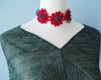Irish Crochet Lace Jewelry (Passion) Fiber Jewelry, Choker, Crochet Necklace