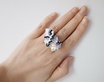 Crochet Lace Jewelry(Bow) Fiber Jewelry, Crochet Ring, Statement Ring