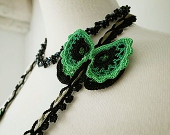 Irish Crochet Lace Jewelry (Butterfly) Fiber Art Necklace, Double Necklace, Crochet Necklace