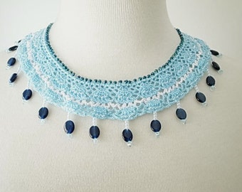 Crochet Lace Jewelry (Ocean Stars) Fiber Jewelry, Statement Necklace, Crochet Necklace