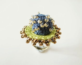 Crochet Jewelry (Style III) Fiber Jewelry, Statement Ring, Crochet Ring