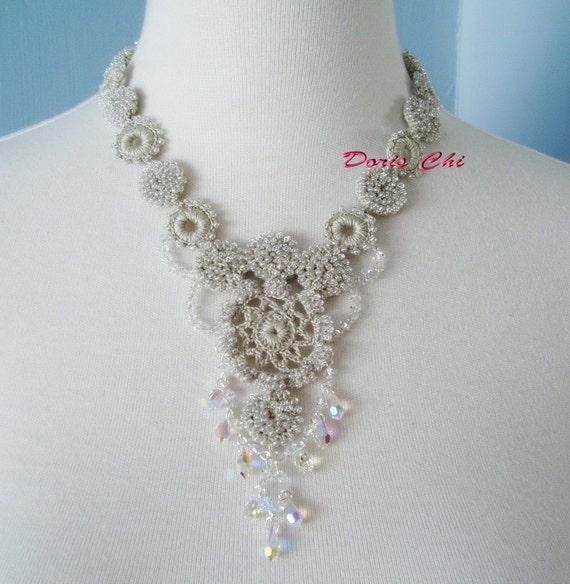Irish Crochet Lace Jewelry Dancing Brook Necklace