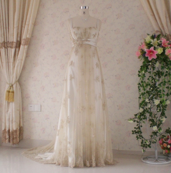 Wedding Dress with Vintage Inspired Light Gold Lace Reserved Listing for Annie