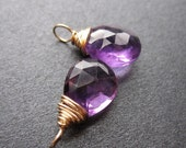 Natural Purple AMETHYST gemstone Interchangeable Earring drops, dangles, charms, Pair of genuine faceted briolettes - Gold, Silver, Rose