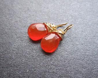 Orange PETITE CARNELIAN gemstone Interchangeable Earring drops, dangles, charms, Pair of genuine faceted briolettes, Gold, Silver, Rose Gold