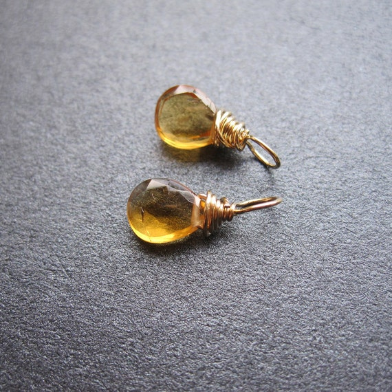 PETITE Honey Yellow CITRINE gemstone Interchangeable Earring drops, dangles, charms, Pair of genuine faceted briolettes - Gold, Silver, Rose