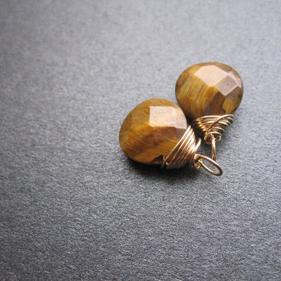 Faceted honey brown TIGER'S EYE 14k Gold Fill Gemstone drops, Interchangeable earrings