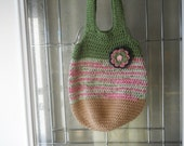 Purse crochet in tan, green and variegated shades