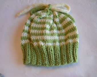 "Baby Hat knitted  0-3 mo 12"" to 14"" in Pistachio and Off White"