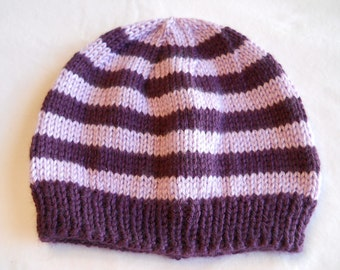 "Baby Hat  knitted  14"" to 16"" striped"