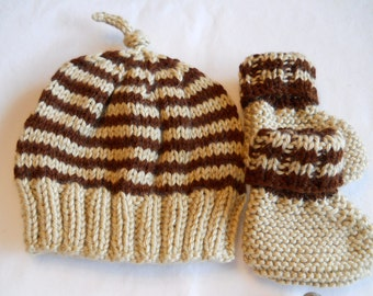 Baby Hat and Bootie Set  0 - 3 mo. Chocolate Brown and Tan  Knitted Set