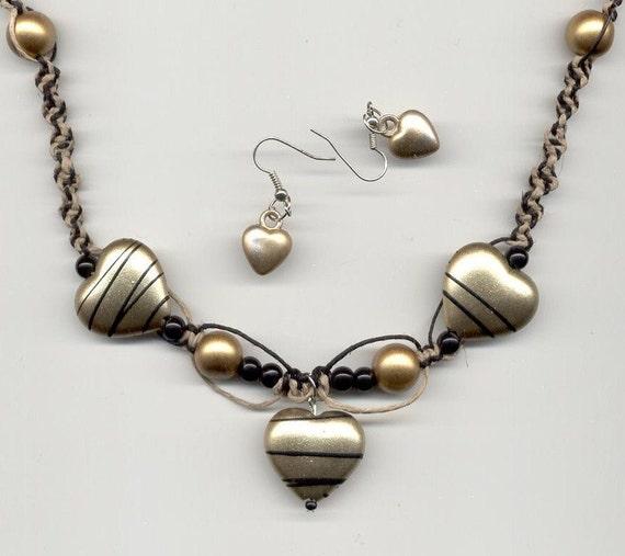 Hemp Necklace SALE Golden Heart