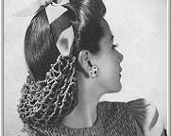 1940s Sweat Sue Mesh Snood Vintage Crochet PDF e-pattern SN1