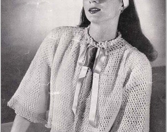 PDF 1945 Feminine Bed Jacket Vintage crochet pattern bj14