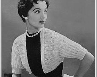 PDF e-pattern Vintage Shrug Knitting Pattern SK03