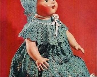 PDF e-pattern Crocheted Vintage Bitty Baby Doll Dress Pattern DD62