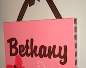 Personalized painting wall ART Butterfly Carter's Flowers PINK Brown baby girl monogram Initial