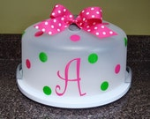Personalized Cake Food Carrier Polka dot Initial monogram Baker cupcake