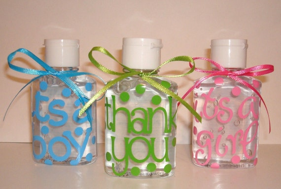 2 oz mini sanitizer personalized baby shower party Its a girl Its a boy THANK YOU Wedding FAVOR