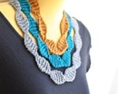 Perle Knit Necklace Cowl Scarf - Grey, Teal, Butterscotch Stripes