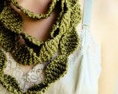 Perle Knit Necklace Cowl Scarf- Chunky Olive Green Cotton