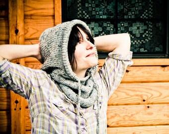 Portland Hoodie Cowl Scarf with Drawstring - Light Grey Tweed- Unisex, Adults, Kids