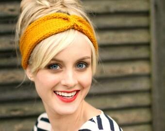 Knit Headband Turban - Sunshine Yellow -  Chunky Wool